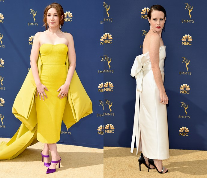 Tea-length strapless column with bow-detail<br><br> *Kayli Carter and Claire Foy.*