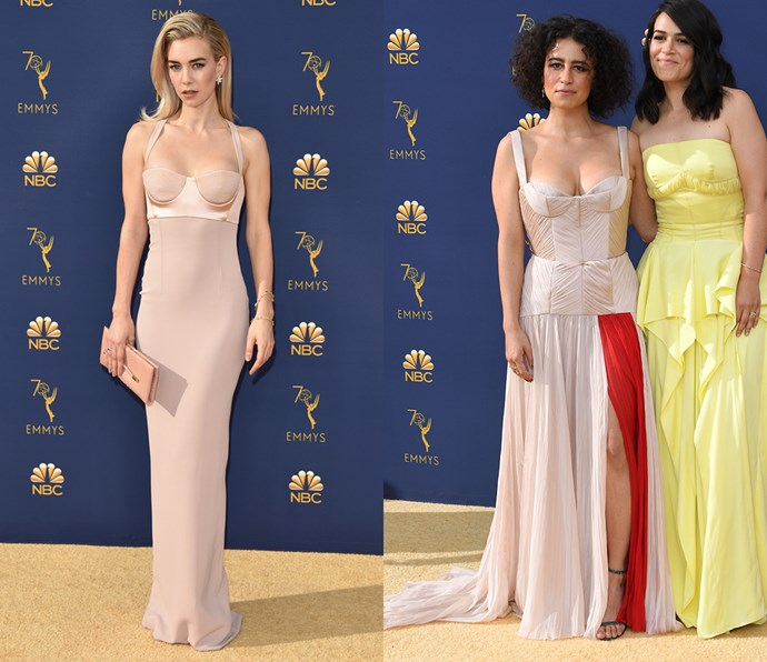 Nude column dress with exaggerated bustier<br><br> *Vanessa Kirby and Ilana Glazer.*