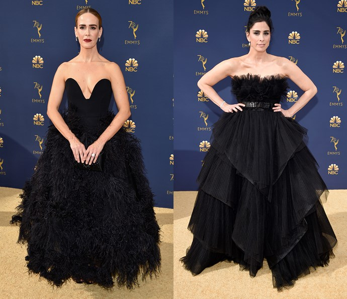 Strapless feathered ball gown<br><Br> *Sarah Paulson and Sarah Silverman.*
