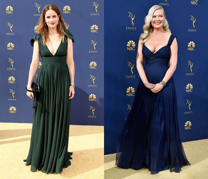 Plunging micropleated dress with empire waist<bR><br> *Amanda Peet and Kirsten Dunst.*