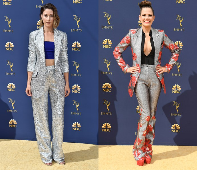 Open metallic silver suit<br><br> *Amanda Crew and Suzanne Cryer.*