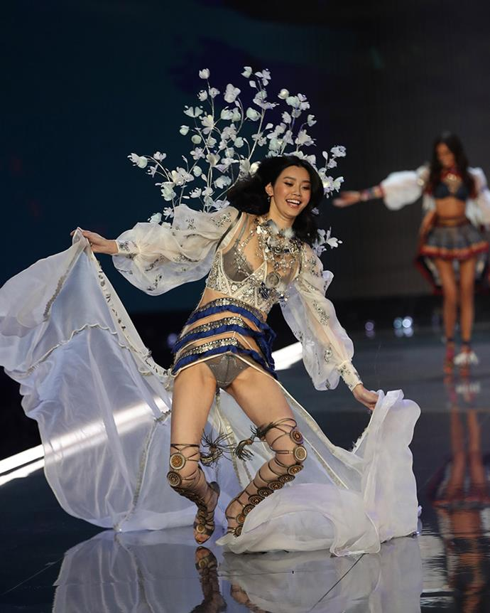 "***2017: Ming Xi's runway fall*** <br><br> Chinese supermodel Ming Xi took an unfortunate tumble during the 2017 show, and our hearts broke when backstage cameras caught her sobbing.  <br><br> Xi later took to [Instagram](https://www.instagram.com/p/BbvmcXFHeZ9/?taken-by=mingxi11|target=""_blank"") to [discuss the fall](https://www.elle.com.au/fashion/ming-xi-victorias-secret-fashion-show-fall-response-15109