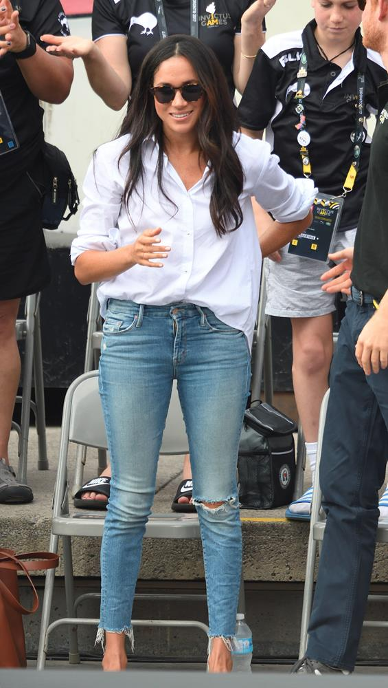 "***Her ripped jeans***<br><br> For her first public outing with Prince Harry, Meghan wore a pair of ripped jeans by MOTHER. Fans, of course, were not happy. ""I'm thinking that you shouldn't be wearing ripped jeans while out walking in public with a prince,"" wrote one."