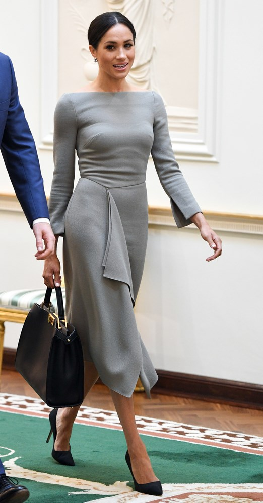 ***Her too-tight Roland Mouret dress***<br><br> When Meghan stepped out in Ireland wearing this custom Roland Mouret dress, fans were quick to criticise the tightness around the bra which—gasp—emphasis the outline of her bra.