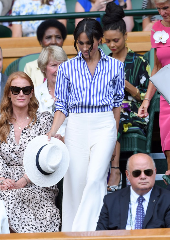 ***Her Wimbledon hat***<br><br> Although Meghan's Maison Michel fedora was a chic addition to her Ralph Lauren shirt-and-trouser combination, she was chastised for bringing it with her as it's against the dress code of the Royal Box to wear a hat.
