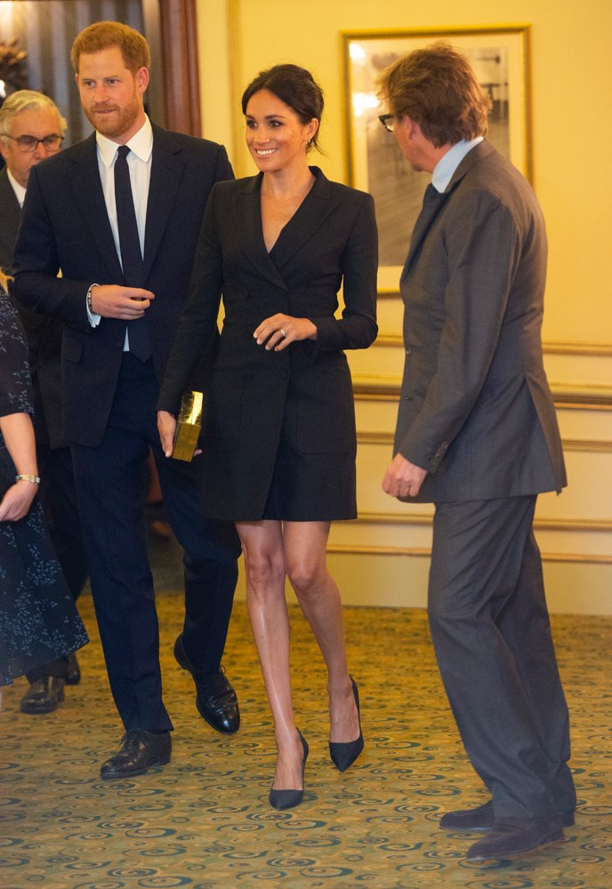 "***Her ""very"" short blazer dress***<br><br> When Meghan stepped out in this Judith & Charles blazer dress for a play in London, royal-watchers were scandalised. Hemlines above the knee? Oy vey."