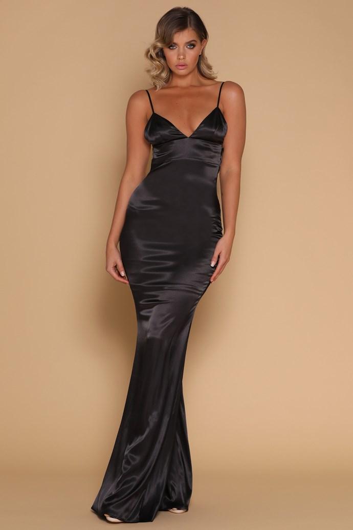 "Brittany wore the 'Luna' dress, $199 by [Meshki](https://www.meshki.com.au/collections/prom-formal-dresses/products/luna-satin-maxi-dress-black|target=""_blank""|rel=""nofollow"")."
