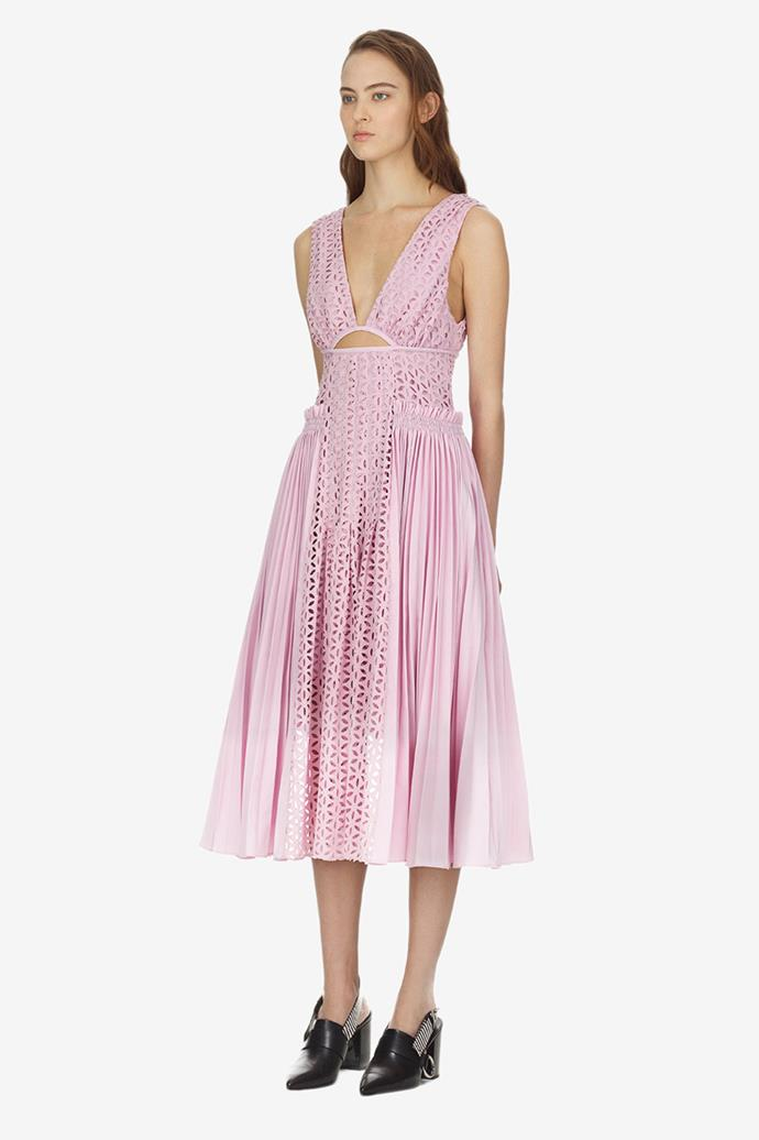 """Self-Portrait Dress, $471 at [Matches Fashion](https://www.matchesfashion.com/au/products/Self-portrait-Broderie-anglaise-and-pleated-panel-midi-dress-1211475