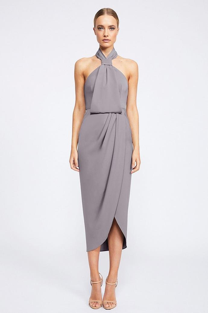 """Core Knot Draped Dress Dress, $481 at [Shona Joy](https://shonajoy.com.au/products/core-knot-draped-dress-grey