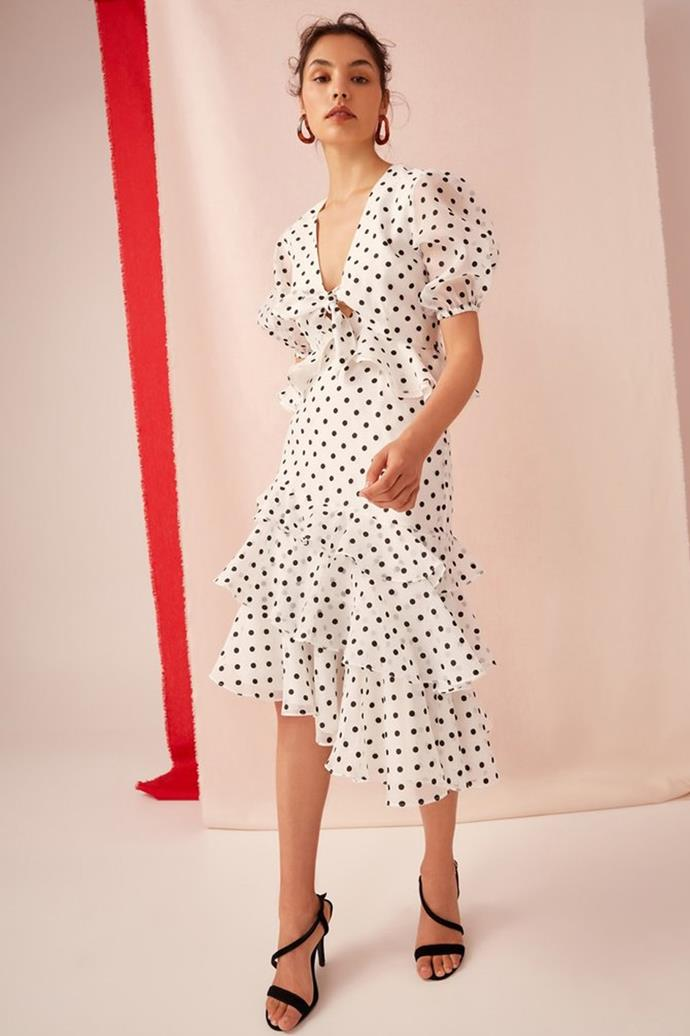 """Limits Wrap Top Dress, $139 at [Keepsake the Label](https://keepsakethelabel.com.au/collections/spring-racing/products/limits-wrap-top-ivory-w-black-polkadot