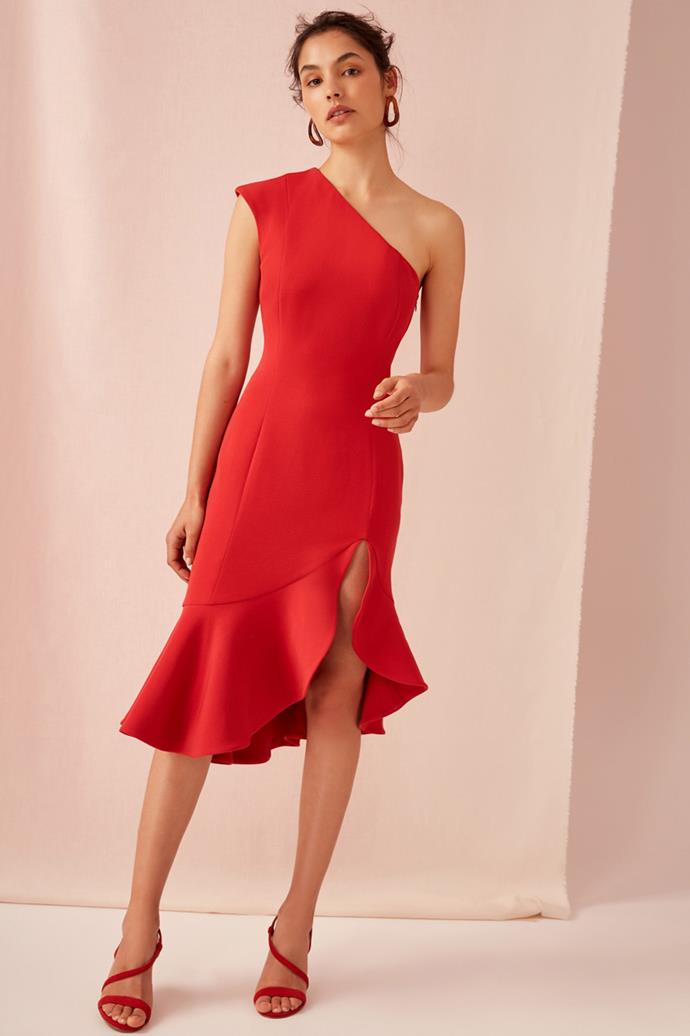 """Keepsake Mirrors Dress, $219 at [Fashion Bunker](https://fashionbunker.com/mirrors-dress-red