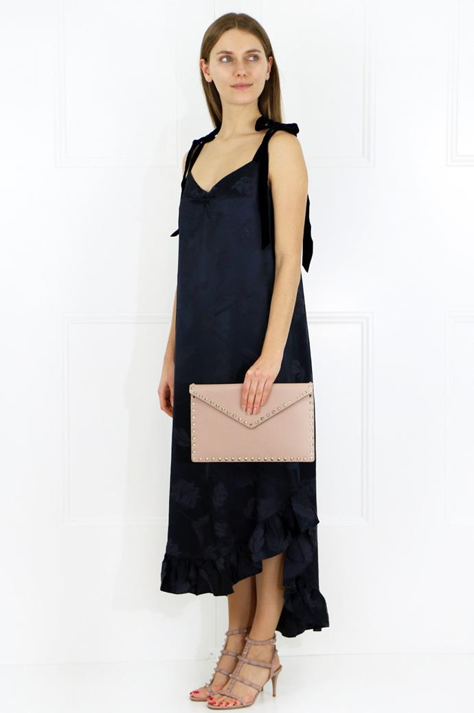 """Mother of Pearl Dress, $505 at [Parlour X](https://www.parlourx.com/styles/dresses/genevieve-rose-print-slip-dress-navy.html