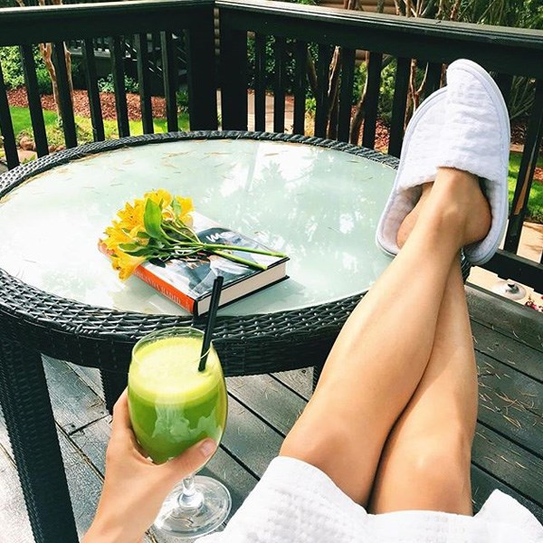 """**Jordan Younger** <br><br> This is Jordan's signature TBV green smoothie, with almond butter,superfood cereal and blueberries on top. The green smoothie is made from  bananas, mango, spinach, mint, hemp protein, cinnamon, spirulina and maca. Click <a href=""""http://www.theblondevegan.com/2013/08/04/the-blonde-vegan/"""">here </a>for the full recipe."""