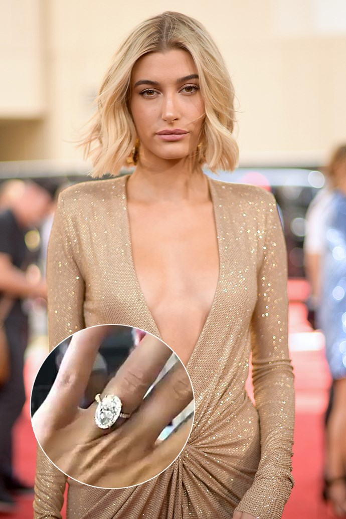 ***Hailey Baldwin.***<bR><br> Hailey Baldwin reportedly asked boyfriend Justin Bieber for a ring that looked like Blake Lively's—and got it in the form of this 10-carat oval-stone ring. Goals.