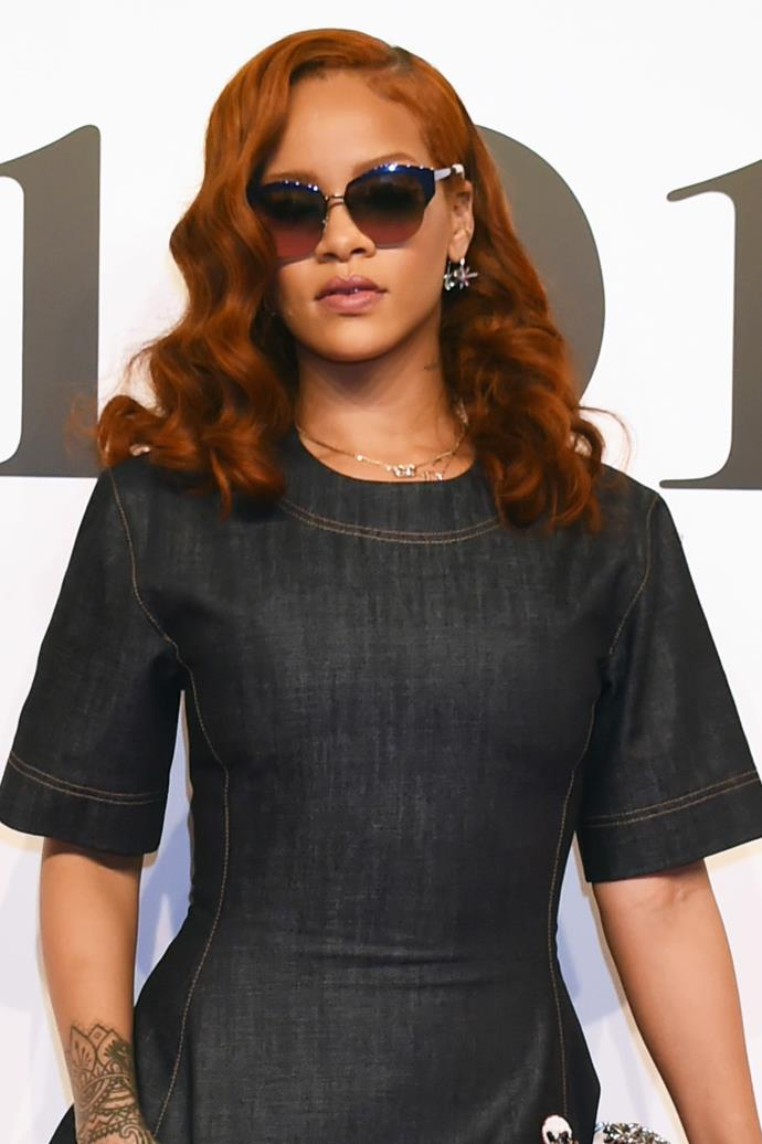 **Rihanna** <br><br> Hair colour-chameleon RiRi channels Jessica Rabbit with her comic-book character shade of crimson. Keep the rest of the look neutral or risk coming off like you're headed for a dress-up party.