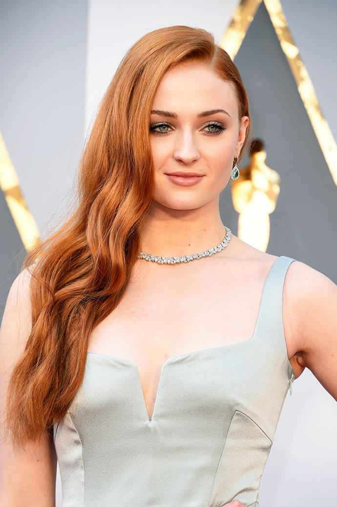 **Sophie Turner** <br><br> Game of Thrones star Sophie Turner channels beauty on the red carpet with her fiery red locks.