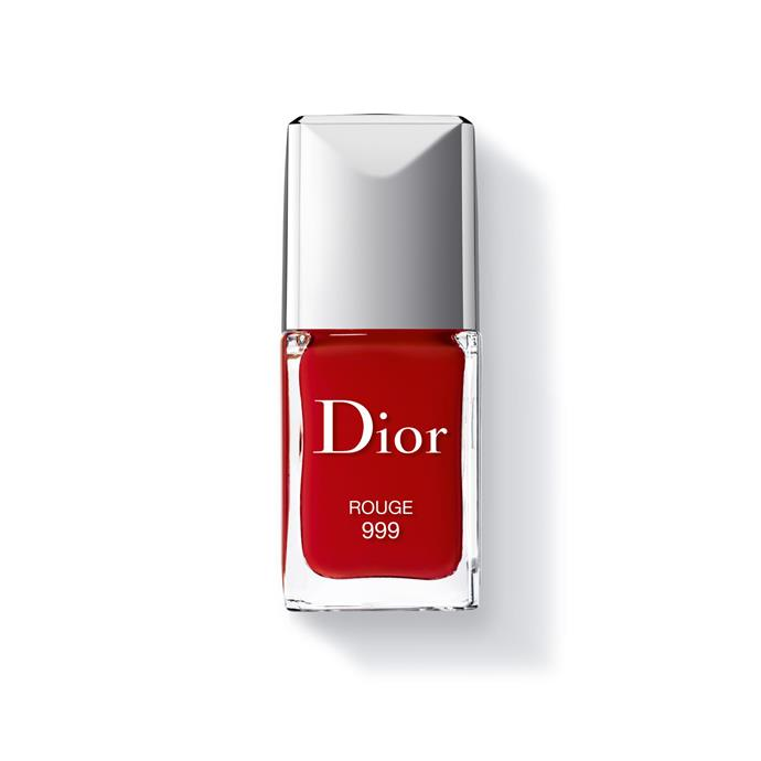 """<p><strong>Carly Roberts, creative director</strong></p> <p>""""The formula is lovely and sheer—so you can apply one coat for one effect, or layer it up for something opaque.""""</p> <p><em>Dior Rouge Vernis in Rouge 99, $28, [Dior](https://www.dior.com/beauty/en_us/fragrance-beauty/makeup/nails/nail-lacquers/pr-naillacquers-y0002959_f000355999-couture-colour-gel-shine-long-wear.html# target=""""_blank"""" rel=""""nofollow"""").</em></p>"""