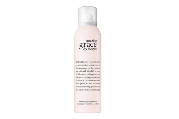 """**Amazing Grace Dry Shampoo by Philosophy, $35 at [Mecca](https://www.mecca.com.au/philosophy/amazing-grace-dry-shampoo/I-030895.html?cgpath=hair-shampoo-dryshampoo