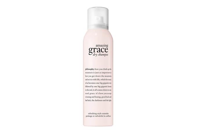 "**Amazing Grace Dry Shampoo by Philosophy, $35 at [Mecca](https://www.mecca.com.au/philosophy/amazing-grace-dry-shampoo/I-030895.html?cgpath=hair-shampoo-dryshampoo|target=""_blank""