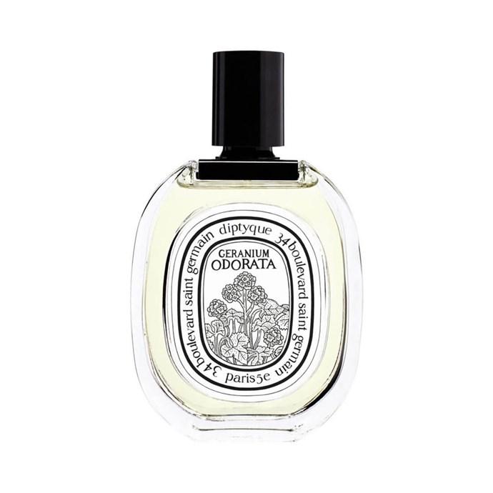 "**Diptyque L'Eau Geranium Odorata, $170 at [MECCA](https://www.mecca.com.au/diptyque/leau-geranium-odorata-edt/I-032188.html?cgpath=fragrance-personalfragrance target=""_blank"" rel=""nofollow"")** <br><br>  **Top notes:** Geranium bourbon, rose geranium, bergamot, pink peppercorn and cedar."