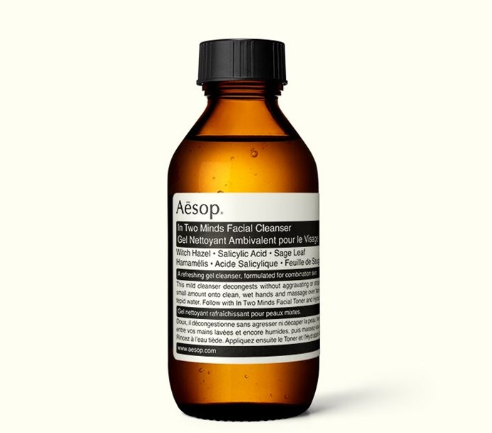 """**'In Two Minds' Cleanser by Aesop, $35.00 for 100mL at [Aesop](https://www.aesop.com/au/p/skin/cleanse/in-two-minds-facial-cleanser/
