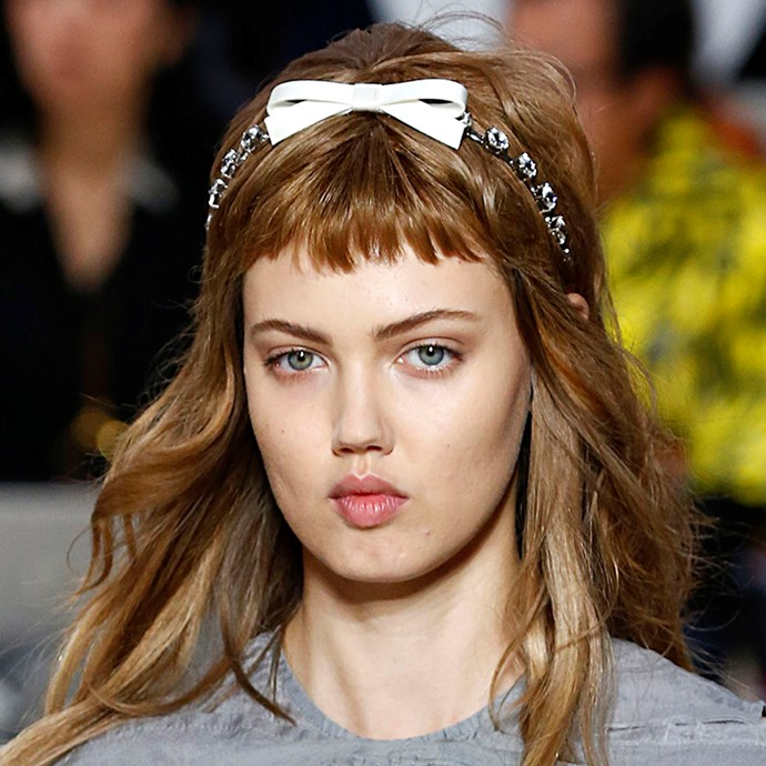 Headpieces can be fantastic, but what about *headbands*? Miu Miu showed a statement head garment is the perfect, adorable alternative to bejewelled headwear.  <br><br> *Pictured: Miu Miu spring/summer '19*