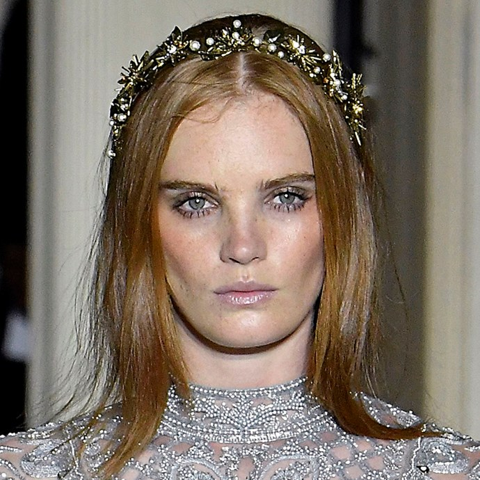 Designers like Zuhair Murad put a modern, brassy twist on the bridal tiara at their shows.  <br><br> *Pictured: Zuhair Murad spring/summer '19*