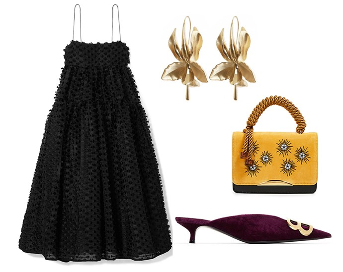 "The LBD is an easy turn-to when it comes to festive party season. Elevate the classic with high-impact accessories and statement jewellery. <br> <br> Dress by Cecilie Bahnsen, $2,850.30 at [Net-a-Porter](https://www.net-a-porter.com/au/en/product/1083662/cecilie_bahnsen/sofie-tie-back-fil-coupe-silk-midi-dress|target=""_blank""