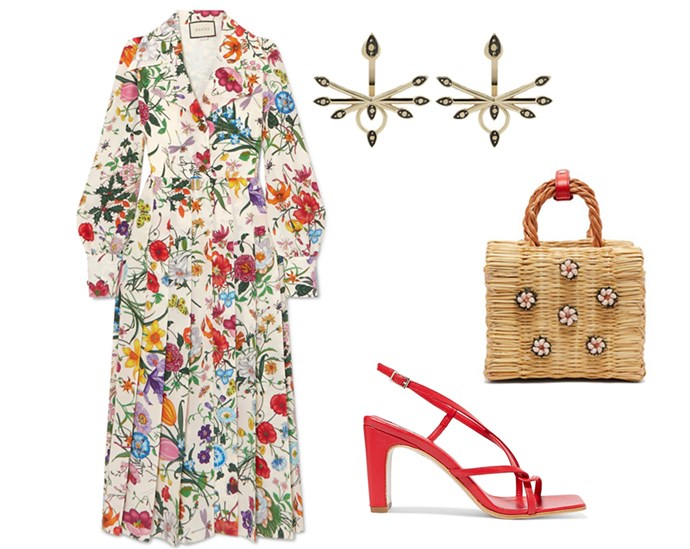 "Red barely-there sandals punctuate Gucci floor-length florals, while a bloom-embellished Heimat Atlantica wicker bag lends the look a daytime ease. Think *The Nutcracker*'s Land of the Flowers: When it comes to working florals this party season, more is more. <br><br> Dress by Gucci, $3,870 at [Net-a-Porter](https://www.net-a-porter.com/au/en/product/1045359|target=""_blank""