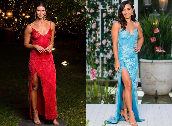 "Brittany, in episode 14, and Brooke, in episode nine, both in the 'Motel Jay' dress, $999, by [Gemeli Power](https://www.gemelipower.com/products/motel-jay|target=""_blank""