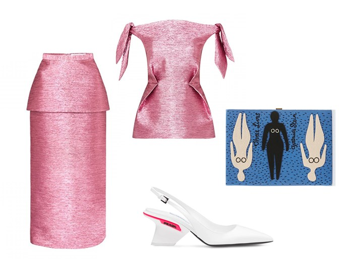 "White Prada pumps will prove a versatile wardrobe investment and party-season staple. Pair yours with block brights and gleaming fabrics for full effect. <br><br> Skirt by [Camilla and Marc](https://www.camillaandmarc.com/gesa-skirt-saphire-pink.html#|target=""_blank""