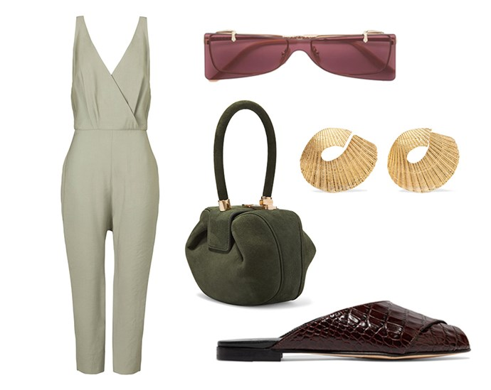 "Outdoor festivities call for clever colour play and bold accessories. Switch-out your all-black-everything for a more summer-friendly go-to: Brown. <br> <br> Jumpsuit by [Viktoria & Woods](https://viktoriaandwoods.com.au/collections/all/products/nightingale-jumpsuit-bay|target=""_blank""