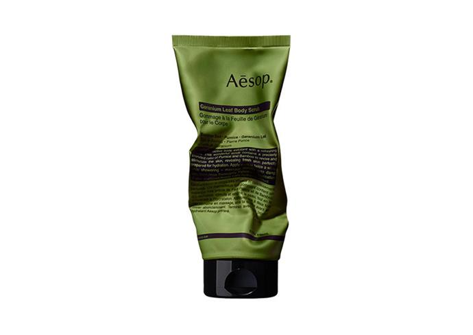 "**Geranium Leaf Body Scrub by Aesop, $39 at [Adore Beauty](https://www.adorebeauty.com.au/aesop/aesop-geranium-leaf-body-scrub.html?.html|target=""_blank""