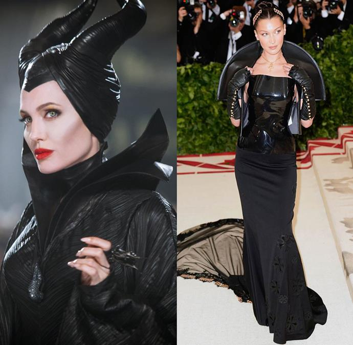 """Taking the LBD to new heights, Bella Hadid's Met Gala look made her a red-carpet standout. Wearing custom Chrome Hearts, Hadid channelled her inner Maleficent, working the design's floor-length veil, latex bodice and statement shoulder detailing with villain-esque chicness.  <br><br> While the model didn't wear Maleficent's signature headpiece, she did commit to having a 10 pound veil strapped to her head. """"If anyone was wondering why I couldn't move it's because a legend by the name of @jenatkinhair sewed a whole entire 10 pounds veil to my head,"""" she told her [Instagram friends](https://www.instagram.com/bellahadid/?hl=en