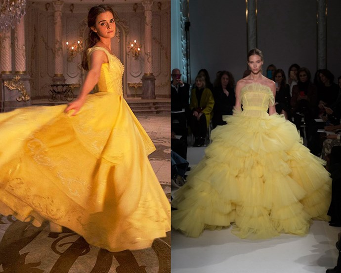The golden ballgown worn by Emma Watson in Disney's 2017 *Beauty and The Beast* remake doesn't stray far from Belle's original dress in the animated film. Designed by Academy Award-winning designer Jacqueline Durran, the garment was crafted from multiple layers of feather-light satin organza and accentuated with over 2,160 Swarovski crystals. The original design also found a fan in Giambattista Valli, whose spring/summer '17 couture runway featured a canary yellow design with striking resemblance to the Disney dress.
