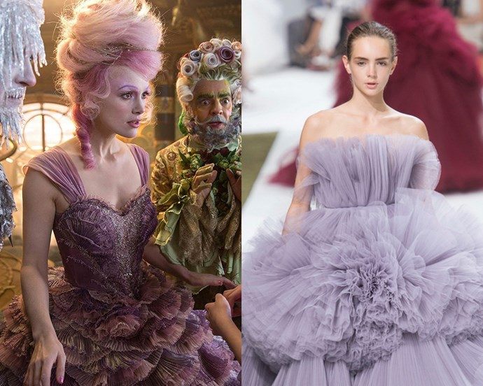"Disney's latest release, *[The Nutcracker and the Four Realms](http://www.disney.com.au/movies/the-nutcracker-and-the-four-realms|target=""_blank"")*, offers up a feature-length serve of couture runway-worthy gowns. The main takeaway—the Sugar Plum Fairy's pastel dress—emulating the colour of crystallised sugar, and channeling some serious Giambattista Valli vibes. <br> <br> Costume designer, Jenny Beavan started the garment creation process by studying actual sugar plums. ""I loved the gorgeous mauvy color and when they're dipped in sugar,"" she said. The result: a gown that celebrates intricate embroidery, a spectrum of pink and lilac shades and romantic ruffles constructed from over 100 meters of satin and organza."