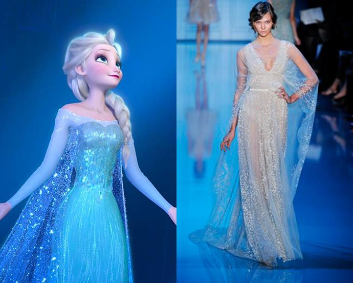 While she's certainly a woman of her own ways, it seems *Frozen*'s Elsa may have taken her style cues from the Elie Saab runway. The designer's autumn/winter '11 collection saw models storm the catwalk in whimsical designs with light-catching embellishments and sky-blue capes. Elsa or Karlie Kloss—who wore it best?