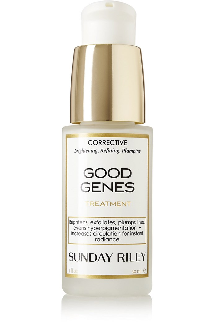 "A serum with cult-status, Sunday Riley's 'Good Genes' uses a blend of lactic acid for exfoliation and licorice for brightening. <br><br> 'Good Genes' treatment by Sunday Riley, $130 at [Net-a-Porter](https://www.net-a-porter.com/au/en/product/459656|target=""_blank""