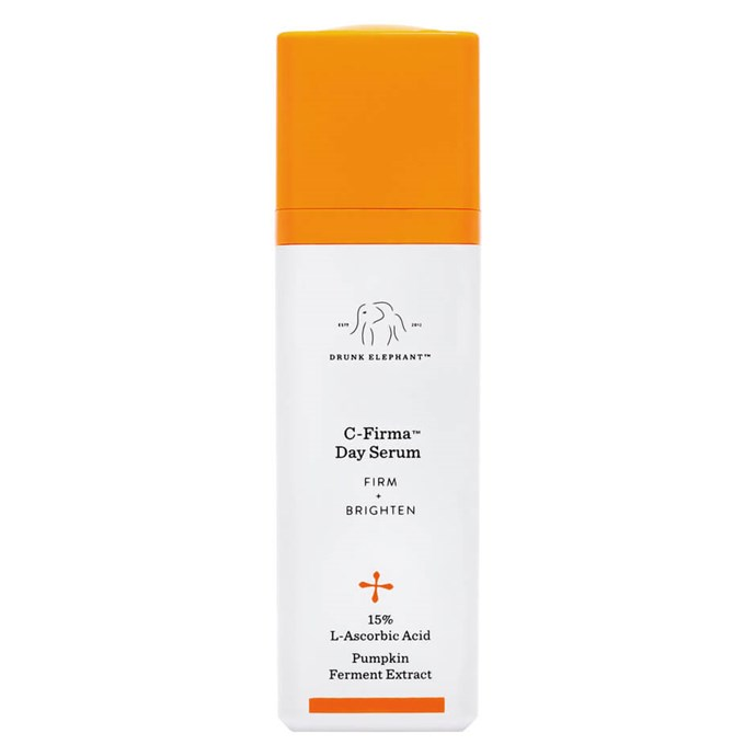 "With vitamin C for healthy skin, L-Ascorbic Acid, pumpkin ferment extract and essential nutrients, Drunk Elephant's 'C-Firma Day Serum' has everything you need in one bottle.<br><Br> 'C-Firma Day Serum' by Drunk Elephant, $116 at [MECCA](https://www.mecca.com.au/drunk-elephant/c-firma-day-serum/I-025393.html|target=""_blank""