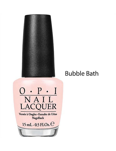 """It's just sheer enough to show the whites of my moons, and has just enough opacity to keep me looking clean. Whenever I wear it I feel like a hand model in an engagement ring advertisement."" Alyx Gorman, Features director.<br><Br> Nail lacquer in Bubble Bath by OPI, $19.95 at [David Jones](https://www.davidjones.com/Product/20328626