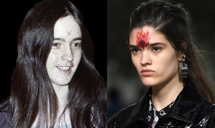 The 'X' Charles Manson's followers drew on their foreheads | Pat McGrath's painted flames at Louis Vuitton's Cruise 2019 show