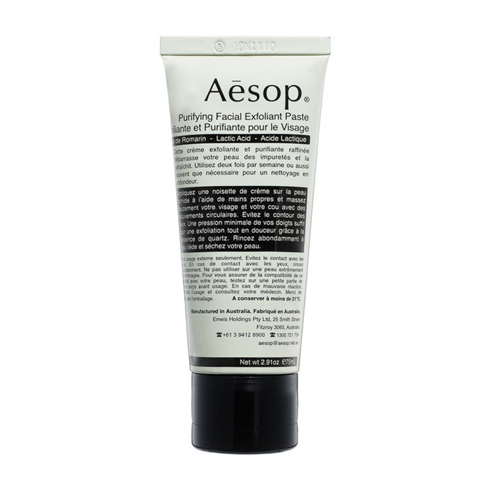 "This cream-based exfoliator uses fine Quartz to scrub the skin clean, and Lactic Acid to soften.<br><br> Purifying Facial Exfoliant Paste, $55 at [Aesop](https://www.aesop.com/au/p/skin/exfoliate/purifying-facial-exfoliant-paste/|target=""_blank""