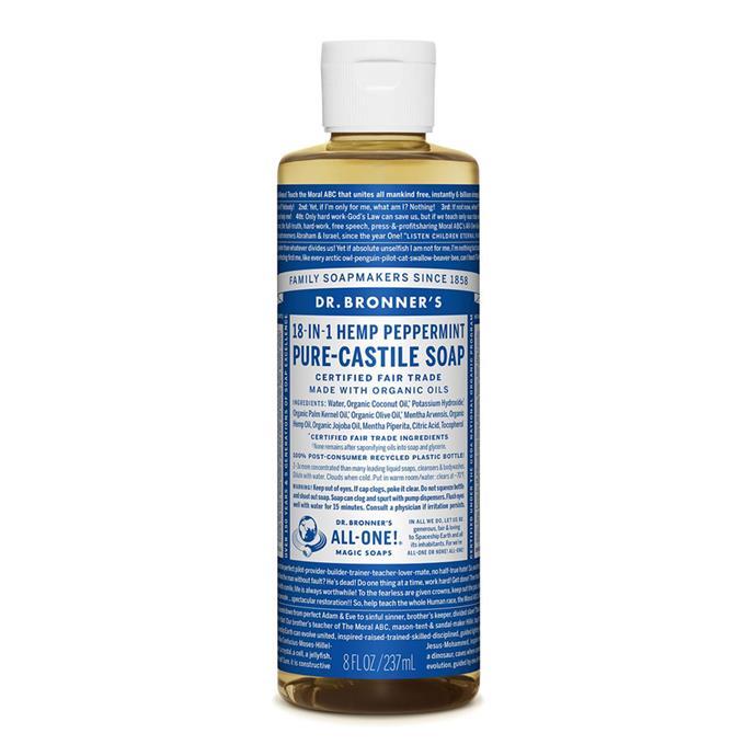"Dr. Bronner's Peppermint Liquid Castile Soap, $12.95 at [David Jones](https://www.davidjones.com/beauty/bath-and-body/bath-and-shower/20199485/Liquid-Castile-Soap-237ml---Peppermint.html|target=""_blank""|rel=""nofollow"")"