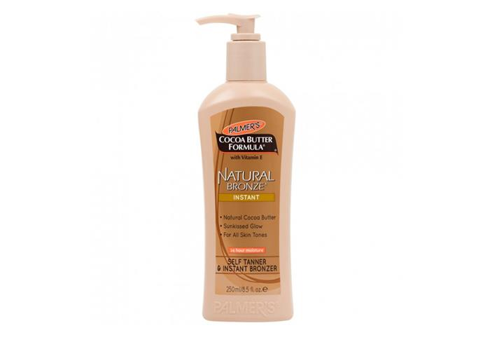 "Cocoa Butter Natural Bronze Instant Self Tanner & Bronzer 250 mL by Palmer's, $14 at [Priceline](https://www.priceline.com.au/palmer-s-cocoa-butter-natural-bronze-instant-self-tanner-bronzer-250-ml|target=""_blank""