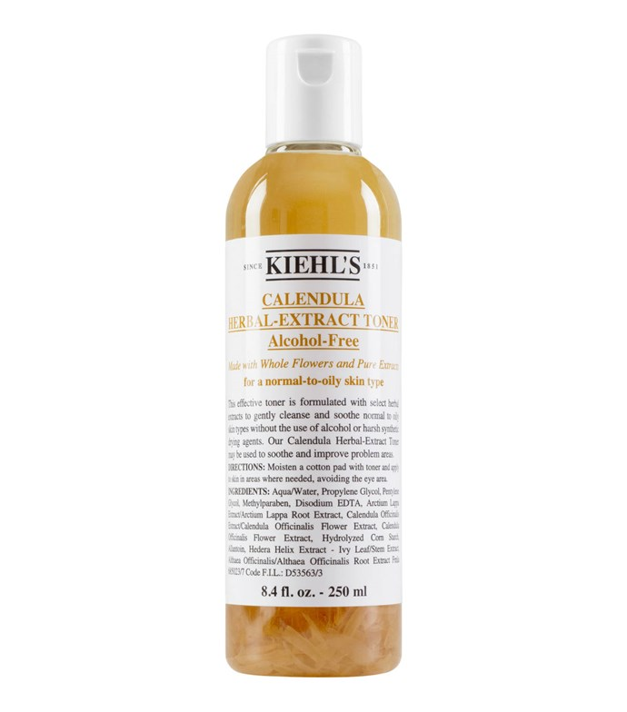 "With literal calendula flowers inside the bottle, Kiehl's' most famous alcohol-free toner removes oil without the aid of alcohol, which can often increase skin sensitivity.  <br><br> *Calendula Herbal Extract Alcohol-Free Toner by Kiehl's, $54 for 250mL at [Kiehl's](https://www.kiehls.com.au/calendula-herbal-extract-alcohol-free-toner/3700194711702.html#q=toner&start=7|target=""_blank"")*"