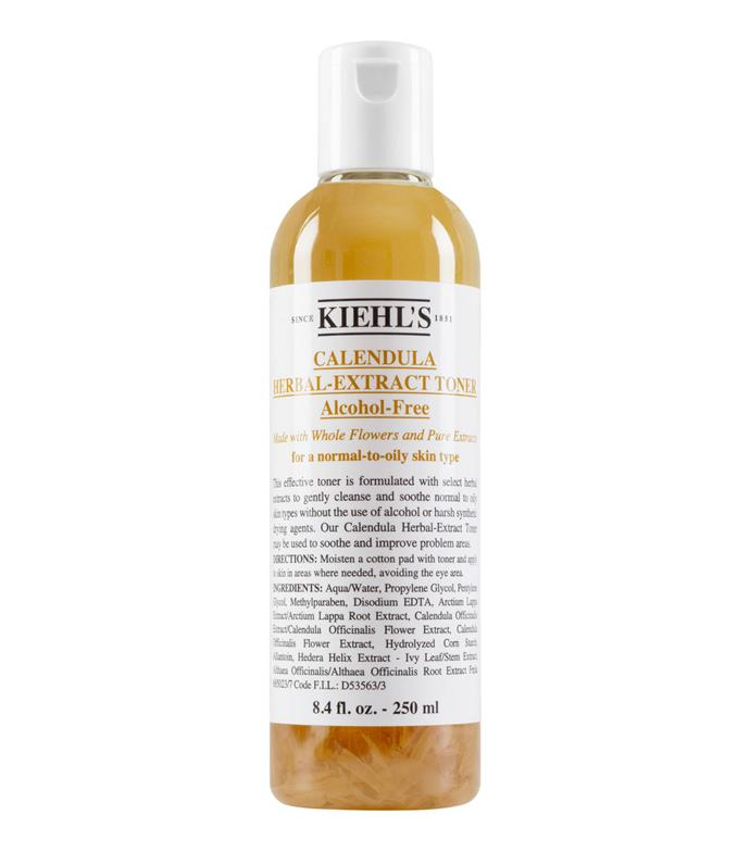 """With literal calendula flowers inside the bottle, Kiehl's' most famous alcohol-free toner removes oil without the aid of alcohol, which can often increase skin sensitivity.  <br><br> *Calendula Herbal Extract Alcohol-Free Toner by Kiehl's, $54 for 250mL at [Kiehl's](https://www.kiehls.com.au/calendula-herbal-extract-alcohol-free-toner/3700194711702.html#q=toner&start=7
