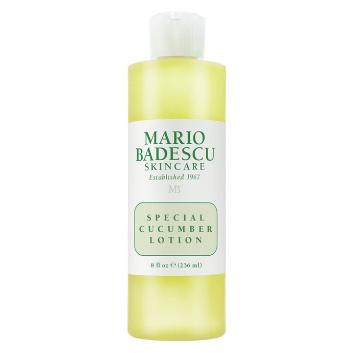 "Seriously, what *isn't* cucumber good for? The most oil-friendly of Mario Badescu's toner serums is affordable and works like a charm.  <br><br> *Special Cucumber Lotion by Mario Badescu, $22 for 236mL at [MECCA](https://www.mecca.com.au/mario-badescu/special-cucumber-lotion/I-004650.html#q=toner%2Boily&start=1|target=""_blank"")*"