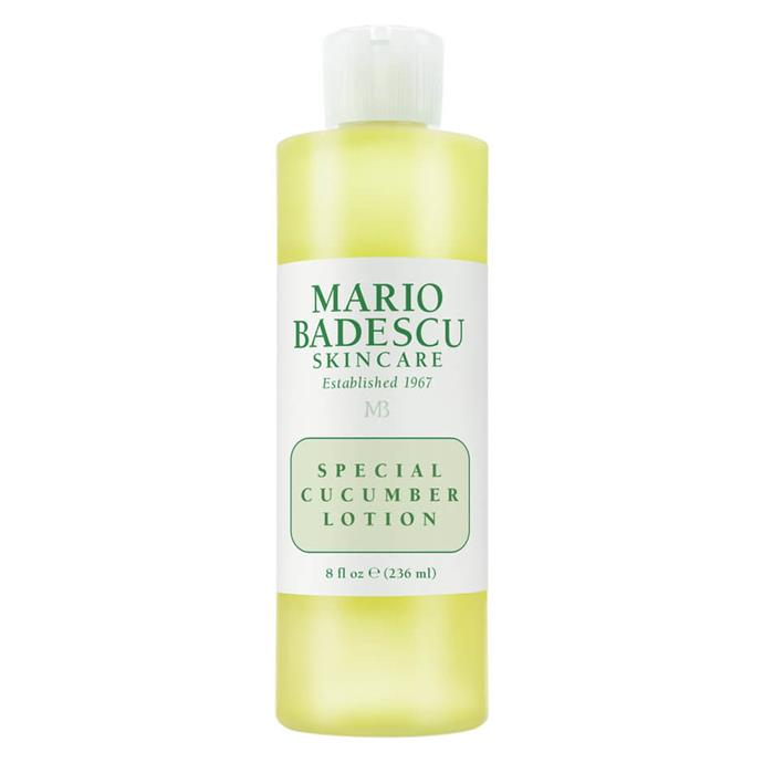 """Seriously, what *isn't* cucumber good for? The most oil-friendly of Mario Badescu's toner serums is affordable and works like a charm.  <br><br> *Special Cucumber Lotion by Mario Badescu, $22 for 236mL at [MECCA](https://www.mecca.com.au/mario-badescu/special-cucumber-lotion/I-004650.html#q=toner%2Boily&start=1