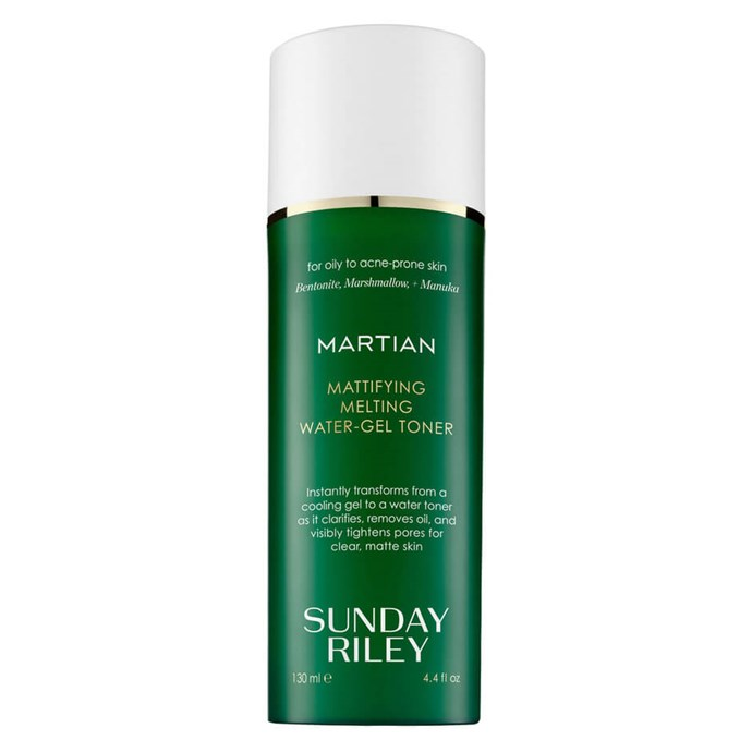 "If you suffer from oiliness, your (oily) face will likely light up when you find a toner product that literally reads 'Mattifying'. Thank us later.  <br><br> *'Martian' Mattifying Melting Water-Gel Toner, $80 for 130mL at [MECCA](https://www.mecca.com.au/sunday-riley/martian-mattifying-melting-water-gel-toner/I-024245.html?cgpath=skincare-cleansertoner#q=toner+oily&prefn1=skinType&prefv1=Oily&start=1|target=""_blank"")*"