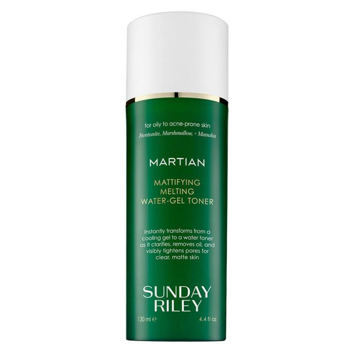 """If you suffer from oiliness, your (oily) face will likely light up when you find a toner product that literally reads 'Mattifying'. Thank us later.  <br><br> *'Martian' Mattifying Melting Water-Gel Toner, $80 for 130mL at [MECCA](https://www.mecca.com.au/sunday-riley/martian-mattifying-melting-water-gel-toner/I-024245.html?cgpath=skincare-cleansertoner#q=toner+oily&prefn1=skinType&prefv1=Oily&start=1